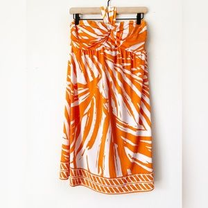 Apt. 9 Orange & With Floral Strapless Dress